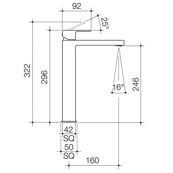 Dorf Epic Tower Basin Mixer specs - line drawing and dimensions