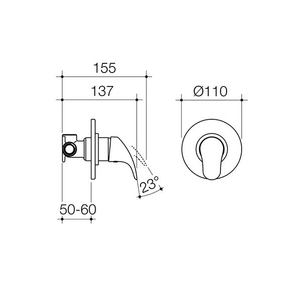 Dorf Flickmixer Bath/Shower Mixer - chrome - the blue space specs - line drawing and dimensions