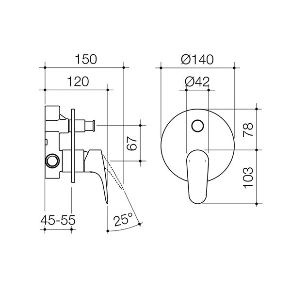 Dorf Flickmixer Plus Bath Shower Mixer with Diverter - chrome - the blue space specs - line drawing and dimensions