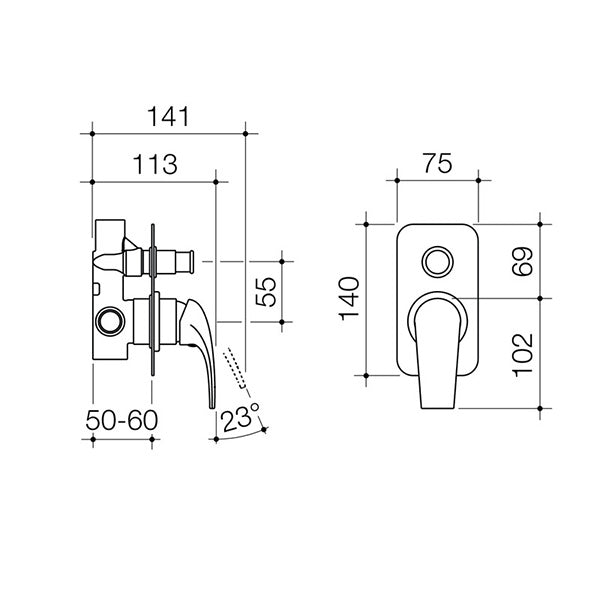 Dorf Hugo Bath/Shower Mixer with Diverter - chrome - the blue space - specs - line drawing and dimensions