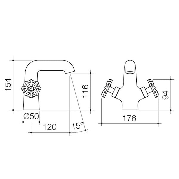 Dorf Industrie Basin Mixer-Red - the blue space - specs - line drawing and dimensions
