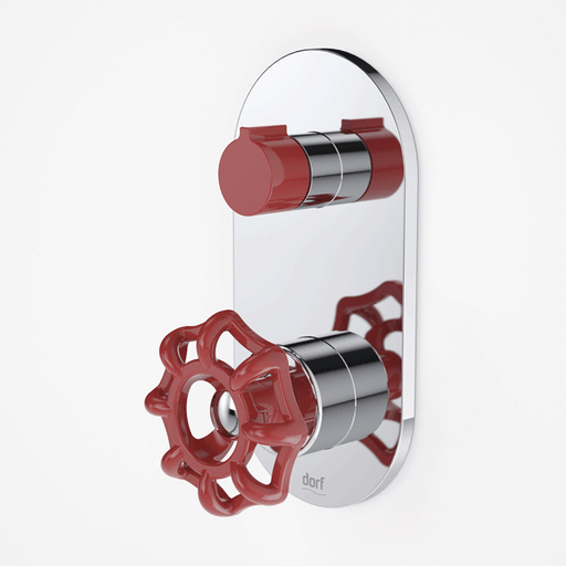 Dorf Industrie Wall Mixer with Diverter Red