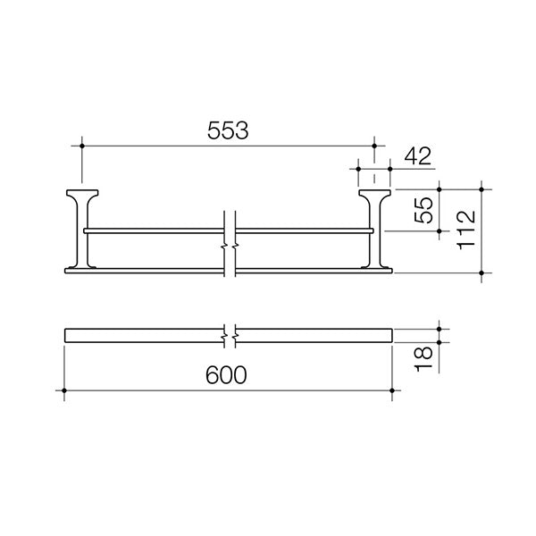 Dorf Jovian Double Towel Rail 600mm Technical Drawing - The Blue Space