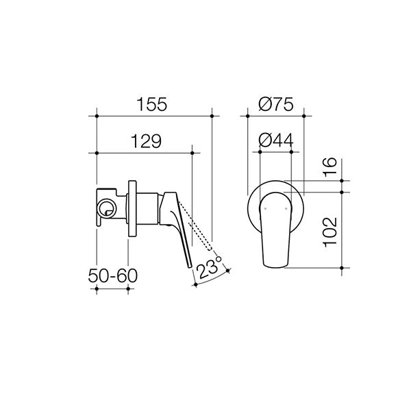 Dorf Kip Bath/Shower Mixer Dimensions - The Blue Space