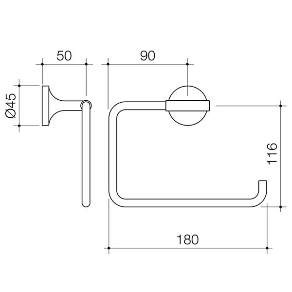 Dorf Kip Hand Towel Ring Technical Drawing - The Blue Space