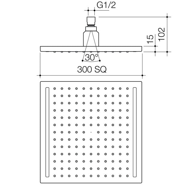 Dorf Luminous Square Rain Shower Head specs - line drawing and dimensions