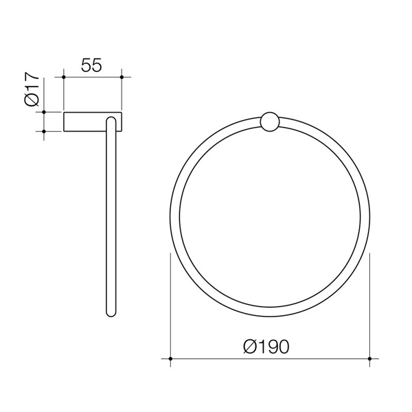 Dorf Maximus Towel Ring - the blue space - chrome - specs - line drawing and dimensions