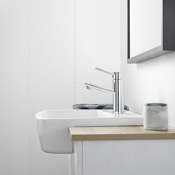 Dorf Villa Basin Mixer Featured with a Semi-Recessed Basin in a Bathroom with a Wooden Benchtop Vanity - The Blue Space