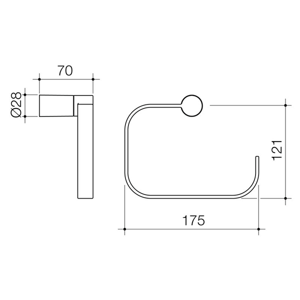 Dorf Villa Towel Ring Technical Drawing - The Blue Space