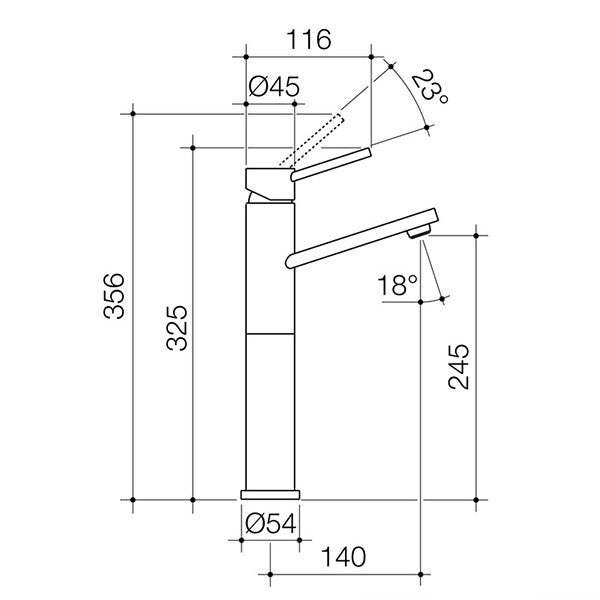 Dorf Villa Tower Basin Mixer specs - line drawing and dimensions
