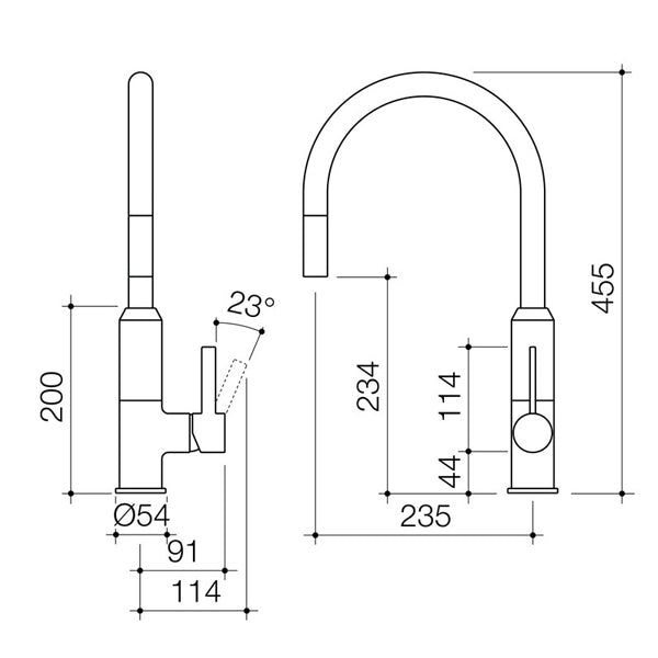 Dorf Vixen Retractable Sink Mixer Black - specs - line drawing and dimensions