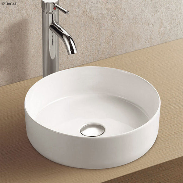 Fienza Reba Ceramic Above Counter Basin - Matte White lifestyle image - The Blue Space