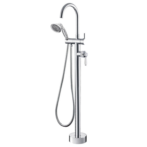 Fienza Eleanor Floor Mixer and Shower - Chrome/Ceramic - The Blue Space