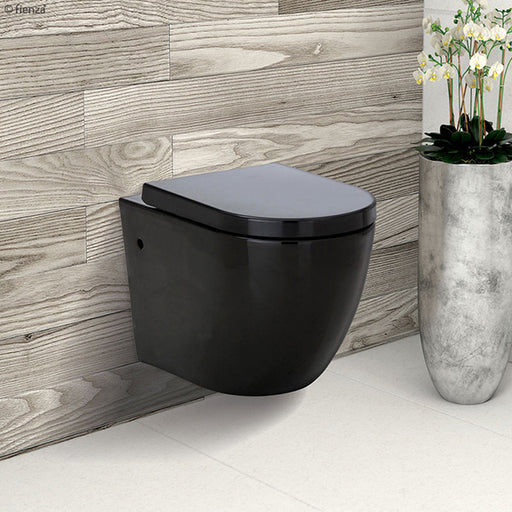 Fienza Koko Black Rimless Wall Hung Suite. Black modern toilet