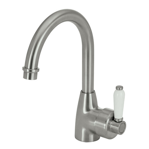 Fienza Eleanor Gooseneck Basin Mixer - Brushed Nickel/White Ceramic Handle - The Blue Space