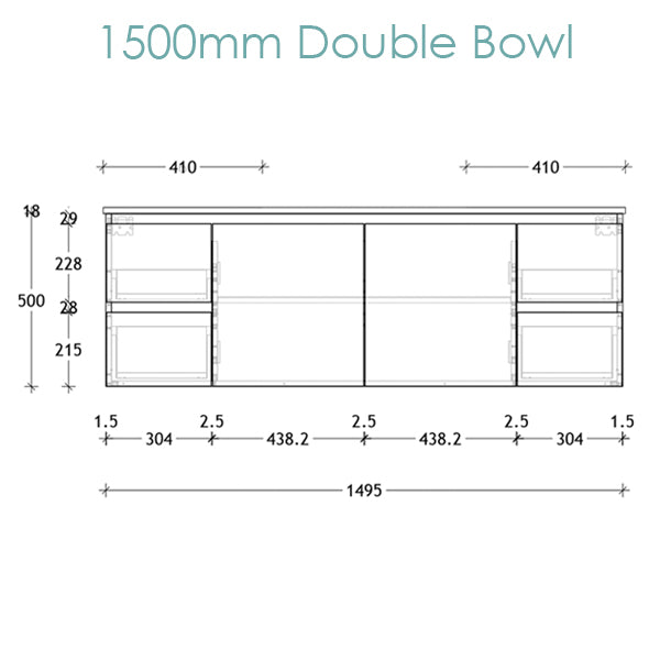 ADP Glacier Ceramic Twin Vanity 1500mm double bowl technical drawing