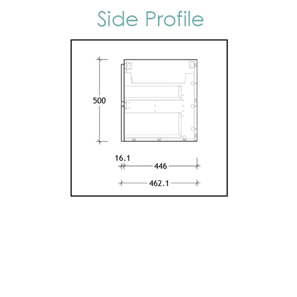 ADP Glacier Ceramic Twin Vanity side profile technical drawing