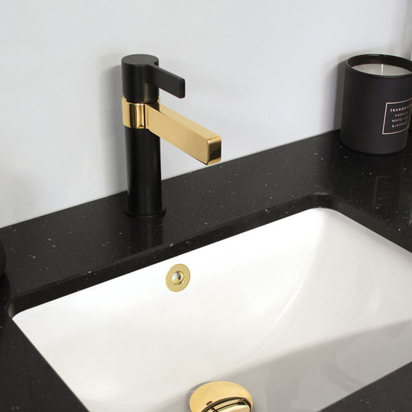 Jamie J Martini Luxe black and gold bathroom basin mixer - The Blue Space