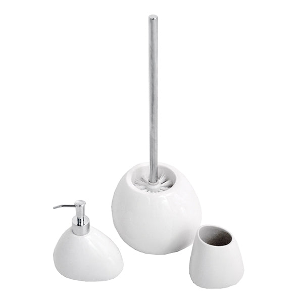 Jamie.J Central Park 3 Piece Bathroom Accessory Set-Gloss White gift set - The Blue Space