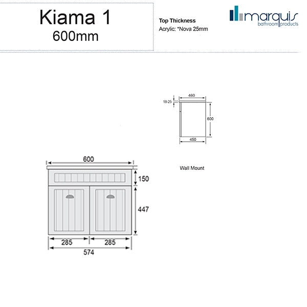 Marquis Kiama Bathroom Vanity 600mm dimensions