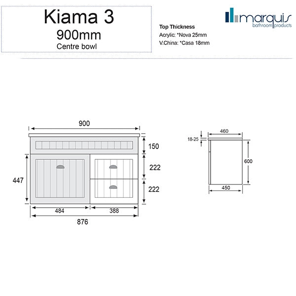 Marquis Kiama Bathroom Vanity 900mm specs - The Blue Space