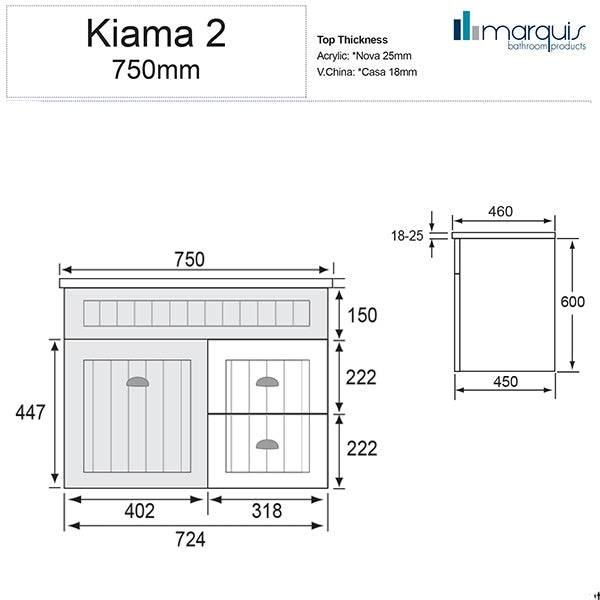 Marquis Kiama bathroom Vanity 750mm line drawing
