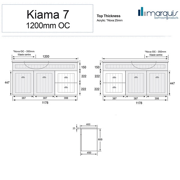 Marquis Kiama Vanity 1200mm left hand drawers specs