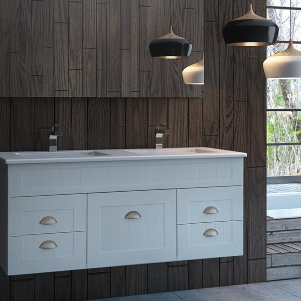 Marquis Kiama Vanity 600mm - 1800mm - shaker style bathroom vanity with shell handles - The Blue Space