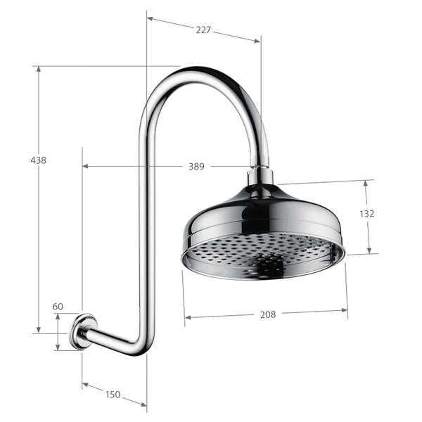Fienza Lillian Wall Arm Shower Set specs
