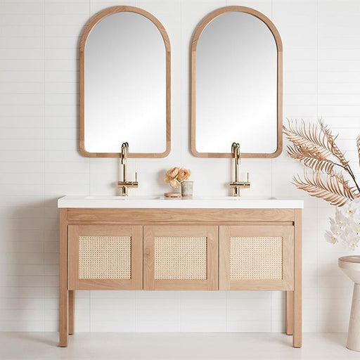 Loughlin Furniture Freo Freestanding Vanity 750mm - 1800mm with ratten door profile - online at The Blue Space