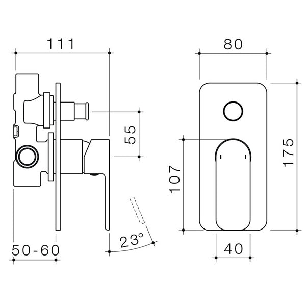 Technical Drawing - Caroma Luna Bath/Shower Mixer with Diverter - The Blue Space