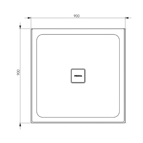 Decina Luna 900 Centre Outlet Shower Base - The Blue Space line drawing and dimensions