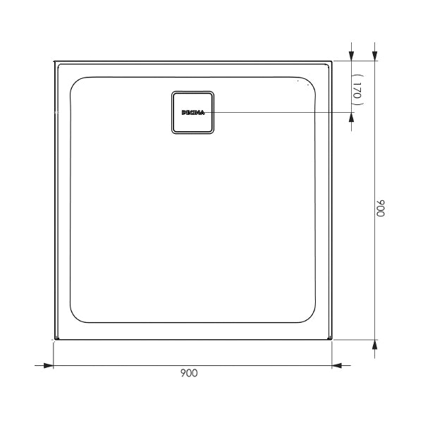 Decina Luna 900 Rear Outlet Shower Base line drawing and dimension - The Blue Space