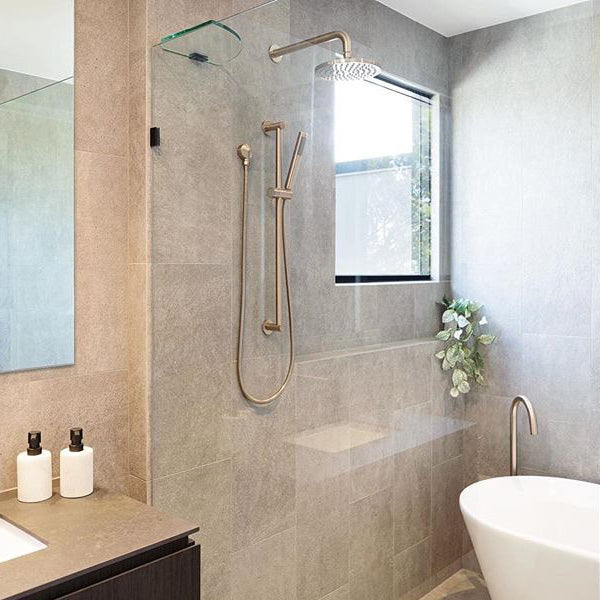 Meir Round Shower on Rail - Champagne in modern bathroom
