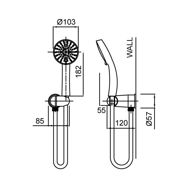 Methven Amio 5 Function Hand Shower Technical Drawing