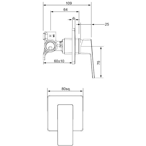 Methven Blaze Shower Mixer-Matte Black Technical Drawing