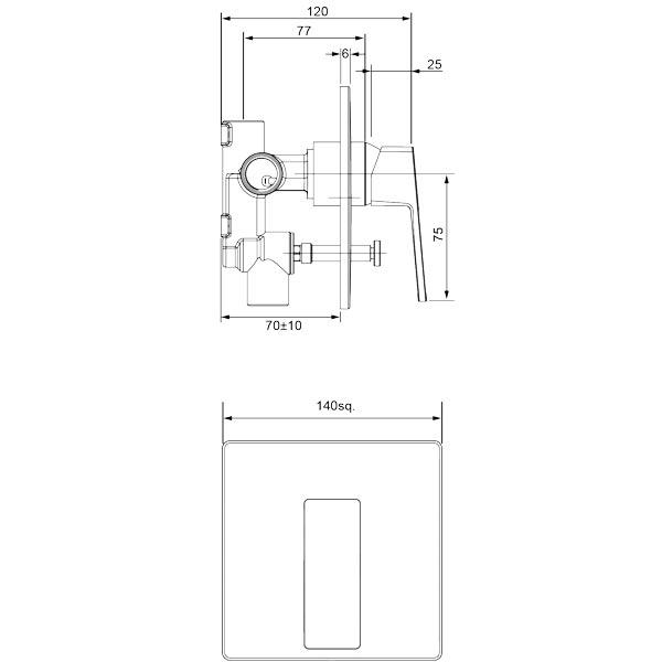 Methven Blaze Shower Mixer With Diverter Technical Drawing