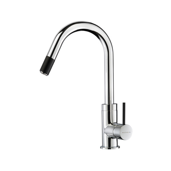 Methven Culinary Gooseneck Pull Out Sink Mixer-Chrome/Matte Black - The Blue Space