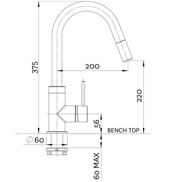 Gooseneck Pull Out Sink Mixer-Chrome Technical Drawing