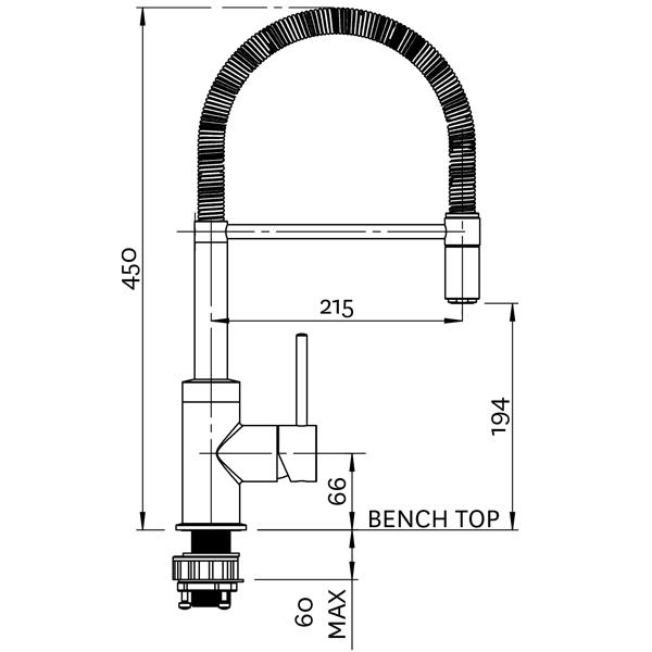 Methven Culinary Spring Pull Down Sink Mixer Technical Drawing