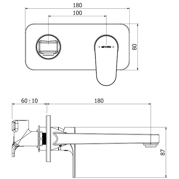 Methven Glide Plate Mount Basin Mixer With 200mm Spout-Chrome Technical Drawing