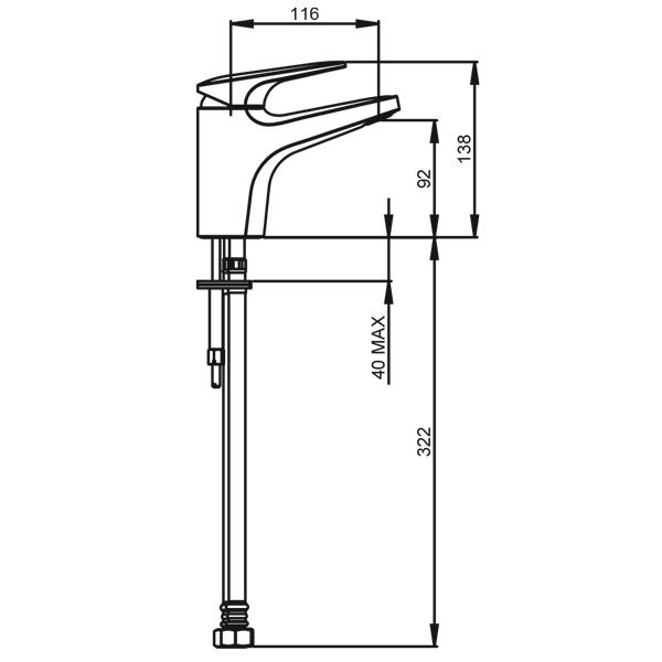 Methven Kaha Swivel Basin Mixer Technical Drawing