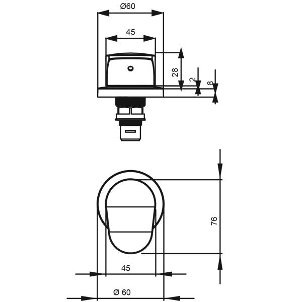 Methven Kaha Wall Top Assembly Technical Drawing