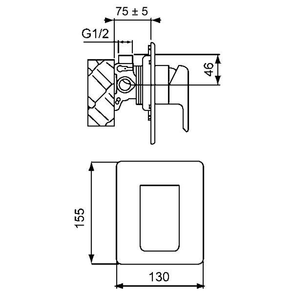 Methven Kiri Shower Mixer Technical Drawing