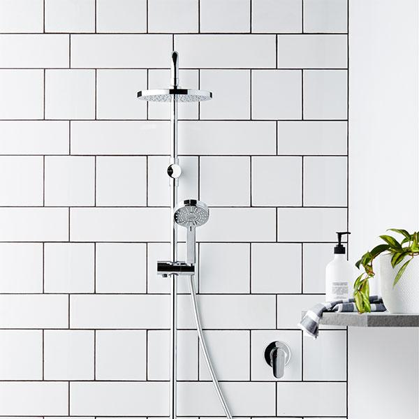 Methven Krome 100 3 Function Twin Shower System with white subway tiles - The Blue Space