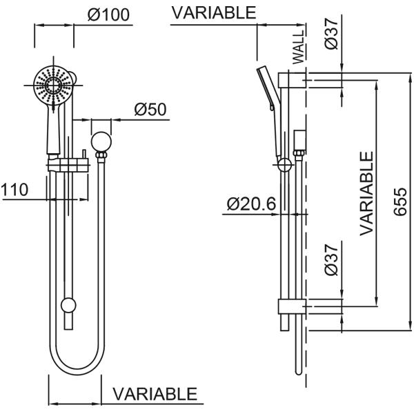 Methven Krome 100 3 Function Rail Shower Technical Drawing