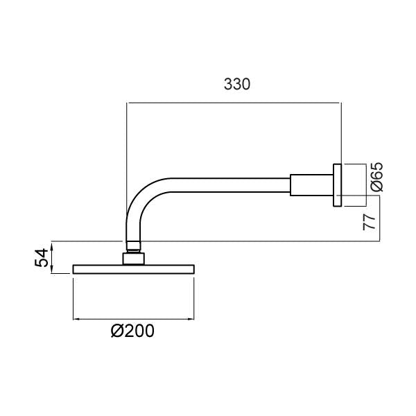 Methven Krome 200mm Wall Shower On Straight Arm Technical Drawing
