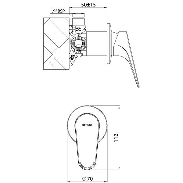Methven Maku Shower Mixer Technical Drawing