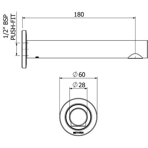 Methven Round Bath Spouts Technical Drawing