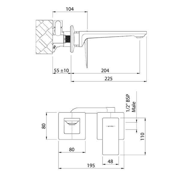 Methven Surface Wall Mounted Bath Mixer with Spout Technical Drawing